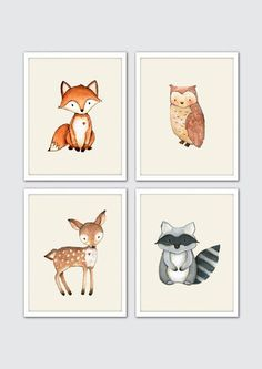 Watercolor Woodland Animals Nursery Art, Woodland Nursery Prints, Racoon, Owl…