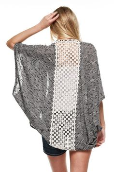 "Love our new ""Cloud Nine"" Cardigan with Lace back! ~ Light weight, open front cardigan ~ Made in USA"