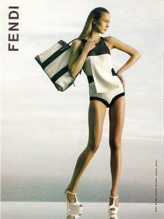 Raquel Zimermann by Karl Lagerfeld in vintage Fendi Ad