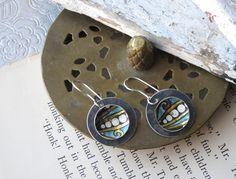 Tin Earrings, Turquoise Vintage Tin, Light Weight Discs, Cookie Tin Earrings, Sterling Ear Wires by eaststreettins on Etsy
