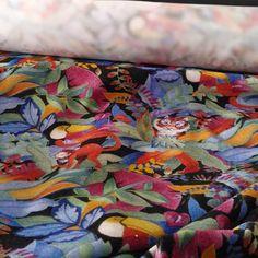 Meanwhile, in the jungle....  #fabric #textileart #textiledesign #patterndesign #patternforbreakfast  #illustration #illustratorsofinstagram #artoftheday #artist #leaves #jungle #tiger #monkey #tucan #blue #green #orange #jersey #cotton #madeinitaly #Imakemyfabrics #collaboration #Lananasartoria