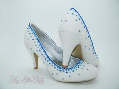 White iridescent glitter and Royal Blue rhinestone Mid court heels Bridal Bridesmaid Maid of honor Mother of the Bride Sweet 16 Teen Gift Bridal Heels, Wedding Heels, Gifts For Teens, Gifts For Her, Bling Heels, Court Heels, 3 Inch Heels, Special Birthday, Blue Glitter