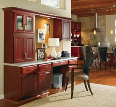 Gibson Cherry Cranberry office by Thomasville Cabinetry.