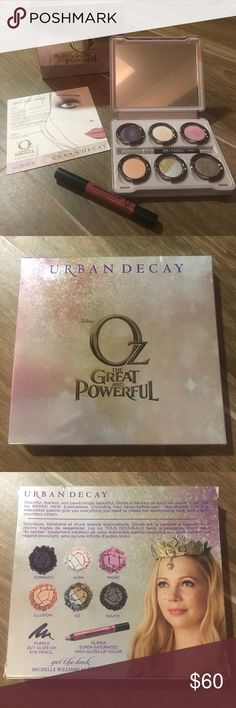 "🆕Urban Decay Glinda Palette New! Urban Decay ""The Glinda Palette."" Includes: Purple 24/7 Glide-On Eye Pencil, Glinda Super-Saturated High-Gloss Lip Color, Get the Look guide, and Eyeshadow Palette with 6 eyeshadows including 2 ""Duo-shades."" Urban Decay Makeup Eyeshadow"