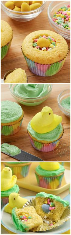 PEEPS® Surprise-Inside Cupcakes-- way fun! I used white frosting and just dipped cupcakes in green sugar. Eat within a day- moisture from cupcakes make candies inside soggy and makes colors bleed. Holiday Desserts, Holiday Baking, Holiday Treats, Just Desserts, Holiday Recipes, Delicious Desserts, Easter Desserts, Frozen Desserts, Cupcake Recipes
