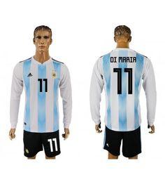 Argentinien Angel Di Maria 7 Heimtrikot WM 2018 Herren Langarm Messi 10, Lionel Messi, Barcelona, Angeles, Sports, Jackets, Tops, Argentina, Unitards