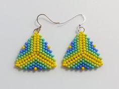 Green Blue Yellow Beaded Triangle Earrings, Peyote Stitch Earrings - Lady Likes Jewelry - 3