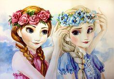 Elsa and Anna summer fun by AnALIBI.deviantart.com on @deviantART