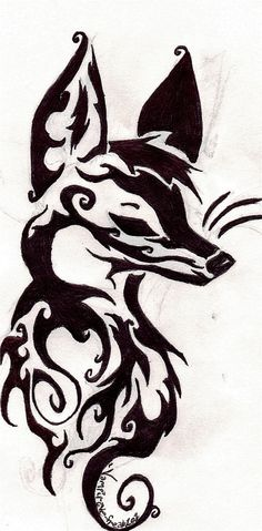 Tribal Fox Head by xXKouhaku-ChanXx on DeviantArt Fox Tattoo Meaning, Tattoos With Meaning, Tattoo Meanings, Cute Fox Drawing, Cute Animal Drawings, Head Tattoos, Body Art Tattoos, Tatoos, Tribal Fox