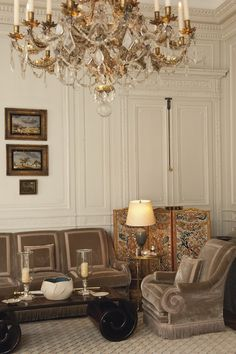 French architectural detailing, the chandelier, the upholstery. The Parisian Property of Mr. and Mrs. John Gutfreund.- #interior #design #art #installation #artwall #gallery #artcollection #collection #museumviews #painting #furniture #sculpture
