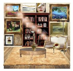 """""""Small Library"""" by psiluvyou ❤ liked on Polyvore featuring interior, interiors, interior design, home, home decor, interior decorating and WALL"""
