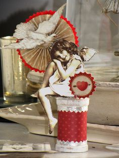 Vintage Victorian Inspired VALENTINE  CUPID Standing on a Spool Rosette Heart