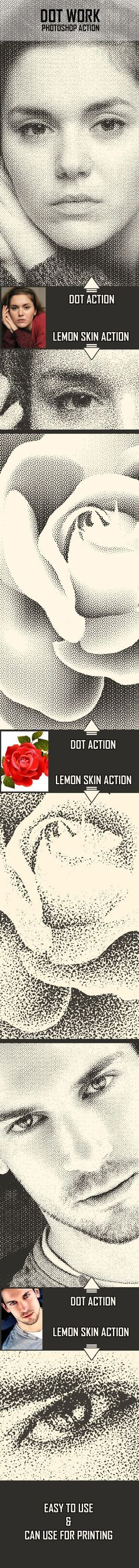 Dot Work Photoshop Action - Photo Effects Actions