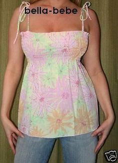 SEXY PINK PRINT SMOCKED EMPIRE CLEAVAGE TOP TIES STRAPS COTTON FLORAL B/D TOP S
