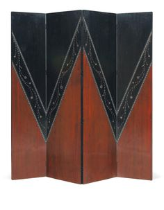 Art Nouveau Walnut Veneer, Ebony, Pearl, and Metal Four Panel Screen by Carlo Bugatti, Italy Art Nouveau Furniture, Art Furniture, Bugatti, Room Divider Screen, Room Dividers, Mobiles, Muebles Art Deco, Antique Interior, Rock Design