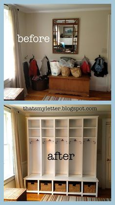 Locker Style Mudroom: Shoe Cubbies. This build is actually two pieces: shoe cubbies on the bottom which also serve as a bench and locker style cubbies up top with shelf storage.  @thatsmyletter is sharing the plans for the shoe cubbies only today, stay tuned for the rest! Remember to finish all of your woodwork off with a protective top coat such as Varathane Triple Thick Polyurethane. http://www.rustoleum.com/product-catalog/consumer-brands/varathane/triple-thick-polyurethane/