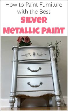 Silver metallic paint and glam seem to go hand in hand. Give your painted furniture a metallic painted makeover by adding metallic silver furniture paint. See a table transformed using metallic paint for furniture. Diy Furniture Projects, Repurposed Furniture, Rustic Furniture, Furniture Makeover, Furniture Design, Furniture Movers, Furniture Cleaning, Repurposed Items, Furniture Logo