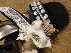 "Wedding day shoes- something ""old"". Wore these at my sisters wedding -  added some vintage flair and bling"