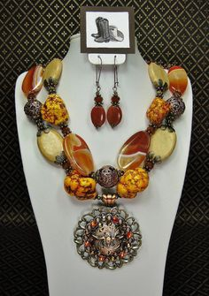 Orange / Rust Chunky Southwest Western Statement Bold Cowgirl Necklace with Copper Longhorn Concho Pendant - BLaZinG SieRRa
