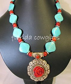Western Cowgirl Chunky Necklace Blue Red Turquoise by FLcowgirls, $45.98
