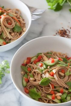 Spicy Peanut Noodles - from @Gaby Dalkin - love peanut noodles!