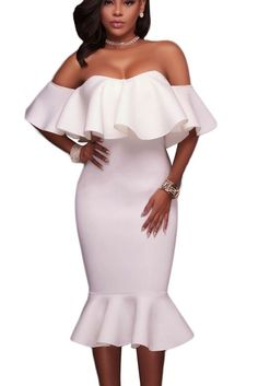 White Ruffle Off Shoulder Mermaid Chic Midi Party Dress MB61486-1 – ModeShe.com