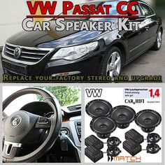VW Passat CC Speaker Upgrade Pack Front Rear Door And Brackets - Car Hifi Radio Adapter.eu VW Passat CC Typ 35 2008 - 2016 car speakers upgrade kit