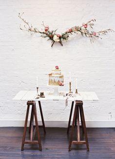 Rustic cake table | Loblee Photography | see more on: http://burnettsboards.com/2015/04/feminine-rustic-botanical-wedding/