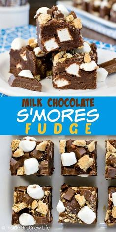 Milk Chocolate S'mores Fudge - this easy chocolate fudge is loaded with graham crackers, marshmallows, and candy bars giving it a great s'mores taste. Make this no bake recipe for summer parties. Fudge Recipes, Candy Recipes, Sweet Recipes, Baking Recipes, Cookie Recipes, Smores Fudge Recipe, Köstliche Desserts, Delicious Desserts, Dessert Recipes