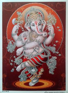 """Lord Ganesha Ganesh Dancing - POSTER (Glitter Effect Work) Size 5""""x7""""   Collectibles, Religion & Spirituality, Hinduism   eBay!"""