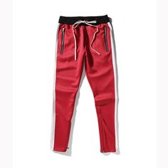 Classic One Stripe Drawstring Sweatpants w/Ankle Zipper 3 Styles