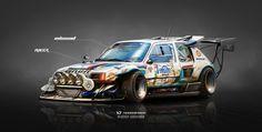 Peugeot 205 T16 on Steroids Inbound Racer, Yasid Oozeear on ArtStation at https://www.artstation.com/artwork/wrqzY