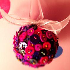 Button, pin, ribbon, and styrofoam ball ornament!