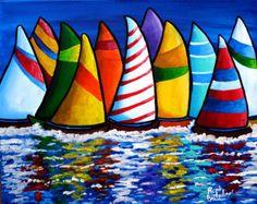 Colorful Sailboats Whimsical Fun Original di reniebritenbucher