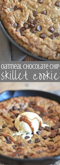 Oatmeal Chocolate Chip Skillet Cookie - Delicious indulgence! Oatmeal chocolate chip cookie dough is spread into a cast iron skillet and baked until it's melty, gooey deliciousness. We top it off with salted caramel sauce and ice cream. Everyone will love this dessert recipe! Pin for later and clickthrough for the full recipe. | Posted By: DebbieNet.com
