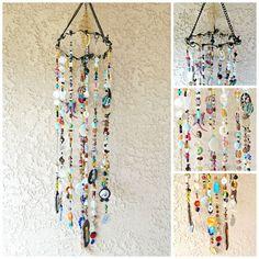Mobile Suncatcher Chimes - Home Garden Decor - Beads and Random Findings - Live Now. $95.00, via Etsy.