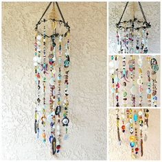 Bohemian Boho Inspired Mobile Suncatcher Hanging - Home Garden Decor - Beads and Random Findings - by LilaxO