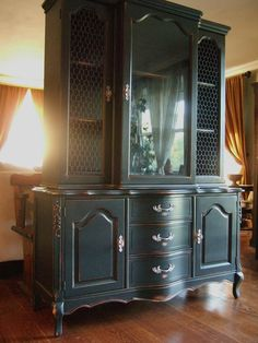 Distressed Black French Country Hutch by Artisan8 on Etsy, $1195.00