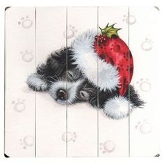 """Paneled wood wall decor with a sleeping black puppy design.  Product: Wall decorConstruction Material: WoodDimensions: 13"""" H x 13"""" WCleaning and Care: Wipe with a damp cloth"""