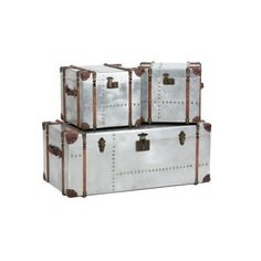 Aerospace Set of 3 Tarnished Silver Metal Trunks (3 325 PLN) ❤ liked on Polyvore featuring home, home decor, small item storage, boxes, trunks, storage boxes, storage trunk and brown boxes