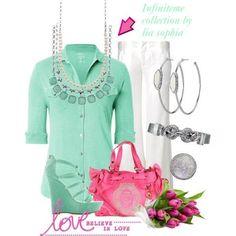 #liasophia #infinitme #diy www.liasophia.com/dazzlingdianne Mint Jewelry, Team Online, White Trousers, Lia Sophia, Fall Winter 2014, Dress Up, Fashion Looks, Take That, Bridesmaid