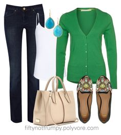 Green for Spring! by fiftynotfrumpy on Polyvore featuring polyvore, fashion, style, Passport, MANGO, Warehouse, ASOS, Tod's, clothing, white tank tops, dark wash jeans and beaded loafers