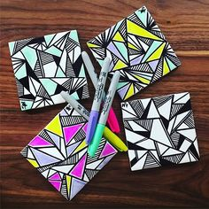 What do you do when you accidentally order double the amount of nonreturnable white bathroom tile?? Get a 32 pack of sharpies and start making some coasters! Sharpie Marker Coaster design by Alexandra Minkoff   www.alexandramink...   neon   black and white   DIY coaster project   sharpie art   coasters   geometric pattern   repeat   home furnishings  
