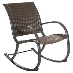 outdoor coral coast mocha resin wicker rocking chair with beige