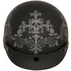 Ultra Slim Profile Fiberglass Dead Roses Matte Black Half Helmet