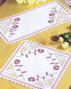 Traditional white hardanger edgings and drawn thread work combined with cross stitched flowers makes a lovely mat for table or dressing table. Types Of Embroidery, Embroidery Needles, Rose Embroidery, Learn Embroidery, Embroidery Patterns, Paper Embroidery, Satin Ribbon Roses, Doily Patterns, Fun Patterns