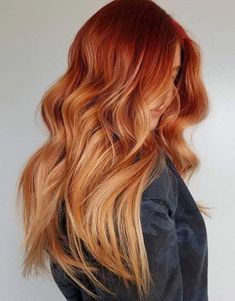 New & Fresh Hair Color Style to Rock In 2019 Lovely Ideas of Red Hair Color for Long hair Source by Red Balayage Hair, Red Blonde Hair, Copper Blonde Hair, Red Copper Hair Color, Copper Ombre, Balayage Highlights, Bright Copper Hair, Red Hair With Highlights, Auburn Highlights