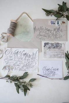 Organic Watercolor Calligraphy - Dusty Grey - Hand Lettering - Color Customizable