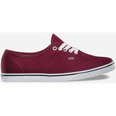 Vans Authentic Lo Pro Womens Shoes ($45) ❤ liked on Polyvore featuring shoes, sneakers, wine, laced up shoes, slim shoes, lace up shoes, lacing sneakers and vans trainers