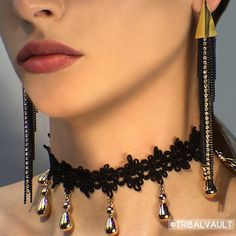 The Golden Liberty Bell Choker and black with gold rhinestone tassel earrings available on www.tribalvault.com 😍